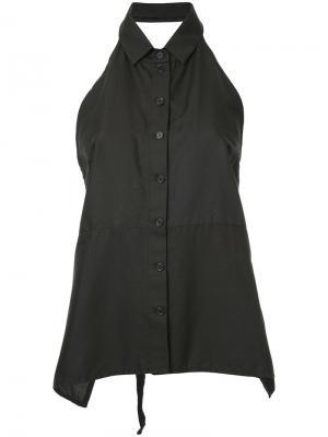 Рубашка с вырезом-халтер на пуговицах Zambesi. Цвет: чёрный