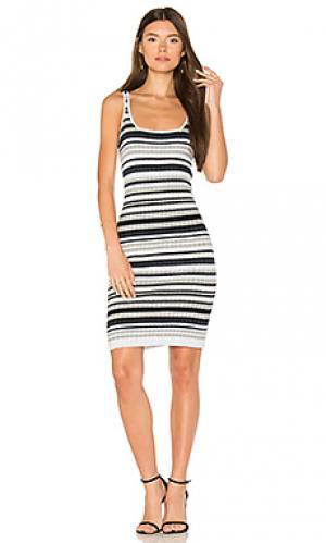 Полосатое мини платье в рубчик Autumn Cashmere. Цвет: серый