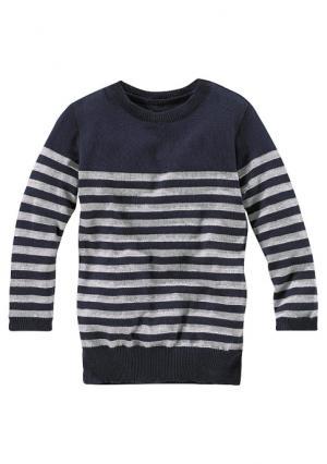 Удлиненный пуловер KIDOKI. Цвет: темно-синий/в полоску