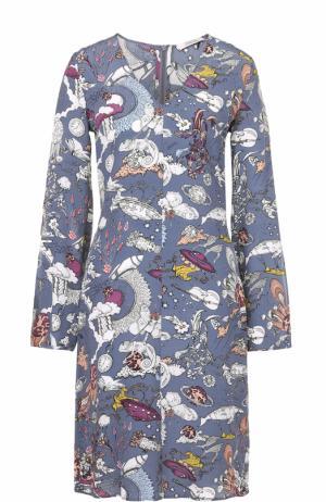 Приталенное платье с V-образным вырезом и принтом Dorothee Schumacher. Цвет: серый