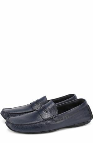 Кожаные мокасины с перемычкой Aldo Brue. Цвет: темно-синий