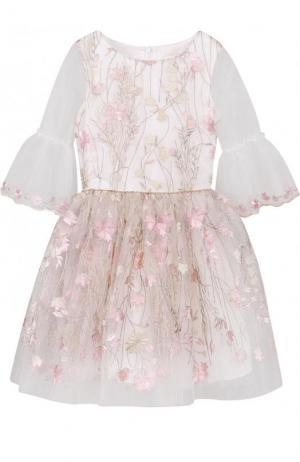Платье-миди с декоративной вышивкой и расклешенными рукавами David Charles. Цвет: розовый