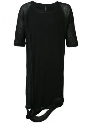 Удлиненная асимметричная футболка Barbara I Gongini. Цвет: чёрный