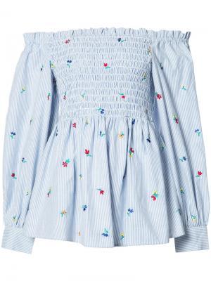 Блузка с открытыми плечами Suno. Цвет: синий