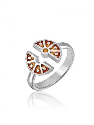 Детское кольцо с эмалью Апельсин KU&KU. Цвет: светло-оранжевый, белый, серебристый