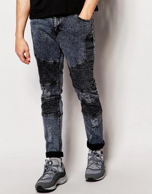 Systvm Байкерские джинсы с потертостями Nickel Noir. Цвет: черный