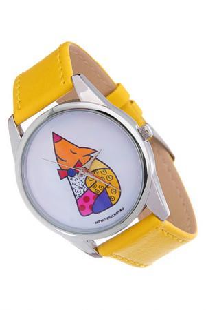 Часы Лисичка MITYA VESELKOV. Цвет: желтый