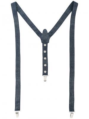 Кожаные подтяжки Manokhi. Цвет: синий