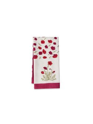 Полотенце Poppies red-green /Маки красный-зеленый/ 50*80см, 100% хлопок Mas d'Ousvan. Цвет: белый, красный