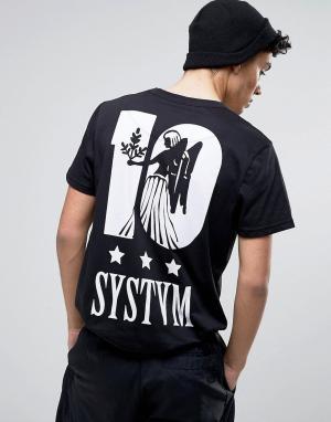 Systvm Футболка с принтом ангела на спине 10. Цвет: черный