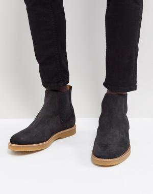 BOSS Темно-серые замшевые ботинки челси. Цвет: серый