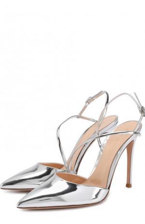 Туфли Manhattan из металлизированной кожи на шпильке Gianvito Rossi. Цвет: серебряный