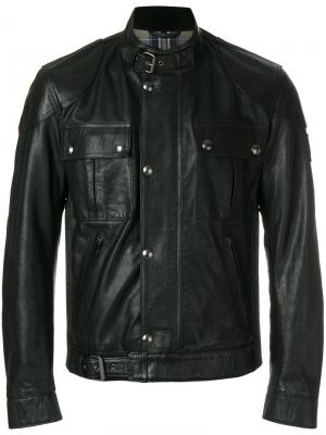 Приталенная байкерская куртка Belstaff. Цвет: чёрный