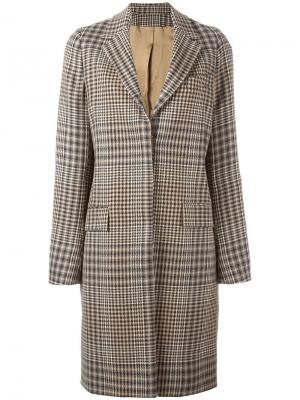 Однобортное пальто в клетку Aalto. Цвет: чёрный
