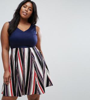 Closet London Plus Короткое приталенное платье с юбкой в полоску. Цвет: темно-синий
