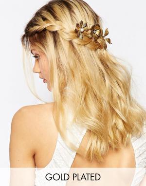 Olivia The Wolf Золотистые заколки с цветочным дизайном. Цвет: золотой