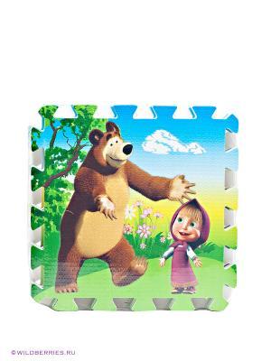 Коврик-пазл Маша и медведь Играем вместе. Цвет: зеленый