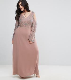 Maya Plus Платье макси с декоративной отделкой на топе. Цвет: фиолетовый