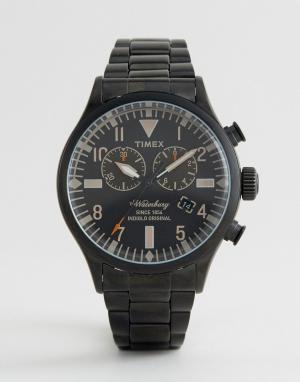 Timex Черные часы с хронографом Heritage Waterbury. Цвет: черный