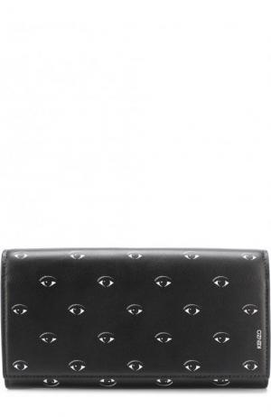 Кожаный кошелек с клапаном и принтом Kenzo. Цвет: черный