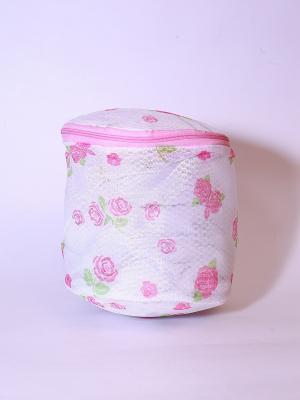 Мешок для стирки нижнего белья, пластик, полиэстер, 15х15х16см, роза KONONO. Цвет: белый