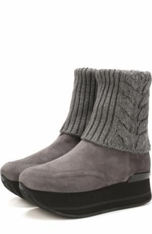 Замшевые ботинки с вязаной вставкой на платформе Hogan. Цвет: серый
