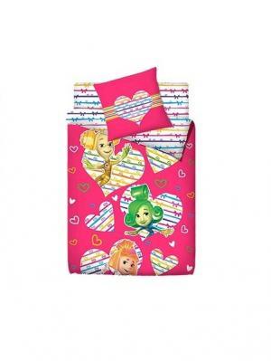 Комплект постельного белья 1.5 фиксики 100% хлопок. Цвет: розовый