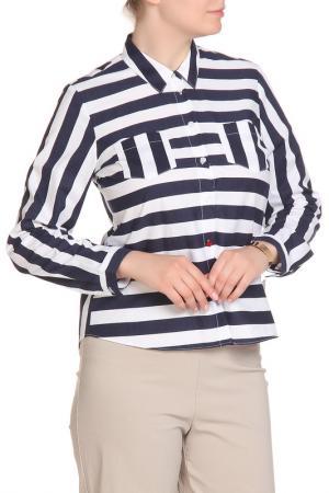 Блуза FIORA BLUE. Цвет: темно-синий, белый