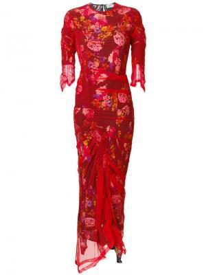 Платье Agnes из тюля с цветами Preen By Thornton Bregazzi. Цвет: красный