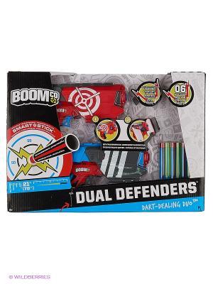 Набор из двух бластеров Двойная защита BOOMco. Цвет: красный, серый, голубой