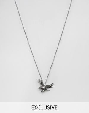 Seven London Серебристое ожерелье с подвеской в виде орла эксклюзивно. Цвет: серебряный