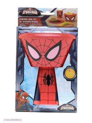 Набор пластиковой посуды из 3-х предметов (в виде героя). Человек-паук Stor. Цвет: красный, синий