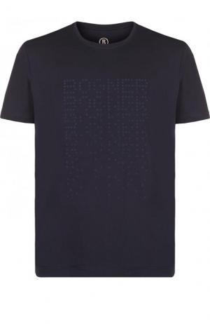 Хлопковая футболка с логотипом бренда Bogner. Цвет: темно-синий
