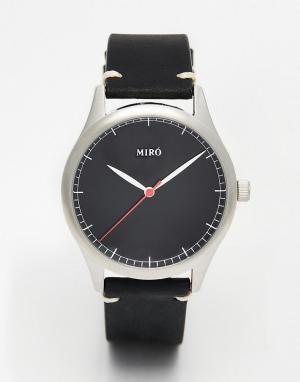 Miro Часы с черным кожаным ремешком. Цвет: черный