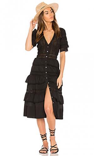 Платье rebecca LoveShackFancy. Цвет: черный
