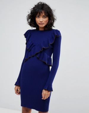 2nd Day Трикотажное платье с оборками. Цвет: темно-синий