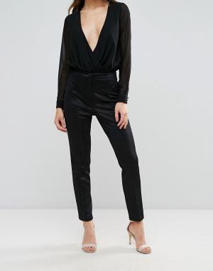 Forever Unique Полиуретановые брюки скинни. Цвет: черный