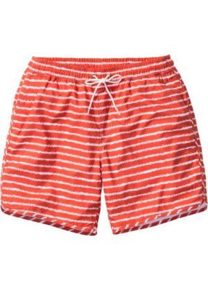 Длинные пляжные шорты в полоску (коралловый полоску) bonprix. Цвет: коралловый в полоску