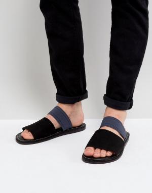 New Look Сандалии с черным и темно-синим ремешком. Цвет: черный