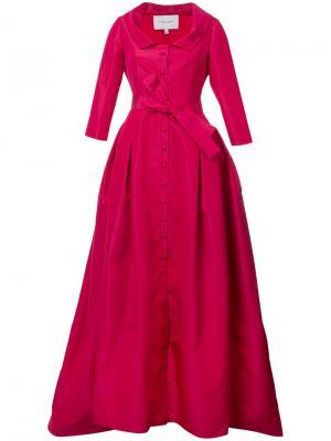 Вечернее платье с V-образным вырезом Carolina Herrera. Цвет: розовый и фиолетовый