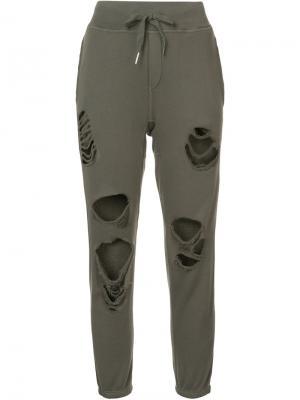 Спортивные брюки с рваной отделкой NSF. Цвет: серый
