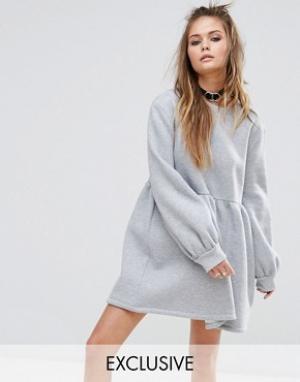 Rokoko Свободное трикотажное платье. Цвет: серый
