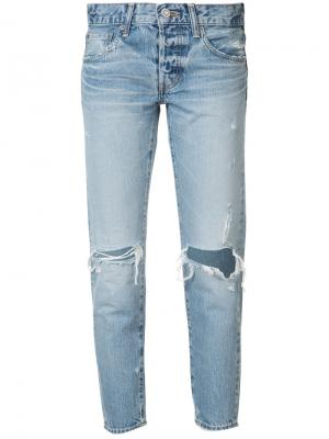 Distressed cropped jeans Moussy. Цвет: синий