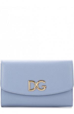 Кожаный клатч на цепочке Dolce & Gabbana. Цвет: голубой