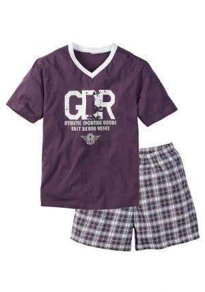 Пижама с шортами. Цвет: белый/красный, серый меланжевый/белый, сливовый/белый, темно-синий/белый, черный/белый