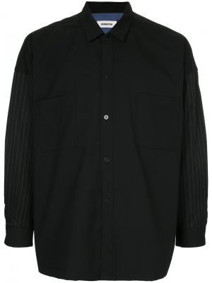 Рубашка с рукавами в полоску monkey time. Цвет: чёрный