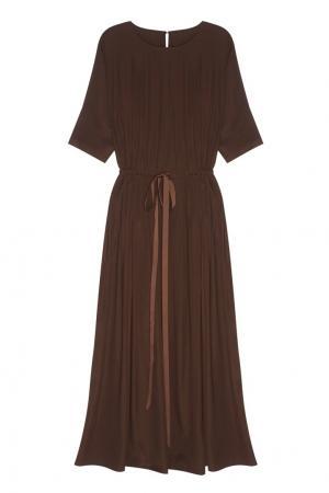 Однотонное платье Cyrille Gassiline. Цвет: шоколадный