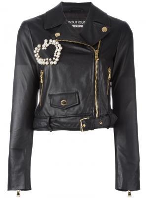 Декорированная байкерская куртка Boutique Moschino. Цвет: чёрный