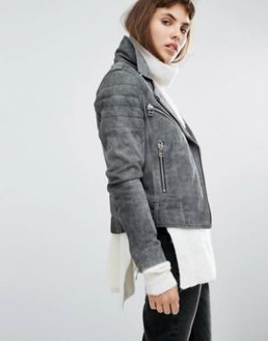 Goosecraft Замшевая байкерская куртка Antique. Цвет: серый