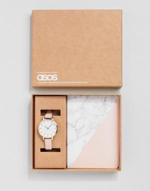 ASOS Подарочный набор из часов и блокнота с мраморным принтом. Цвет: розовый